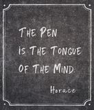 Pen is tongue Horace quote. The pen is the tongue of the mind - ancient Roman philosopher Horace quote written on framed chalkboard royalty free stock photos