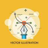 Pen tool and Bezier curve. Concept of modern software for creating vector illustrations, graphic, web and digital design. Techniques. Creative vector royalty free illustration