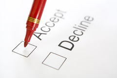 Pen on top 'Accept' checkbox Stock Photography