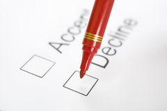 Pen on top 'Decline' checkbox Stock Photography