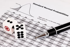 Pen and two dices on standard normal probabilities table. Royalty Free Stock Photography