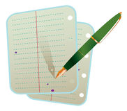 Pen with two notebook sheets Stock Photography