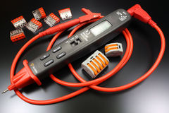 Pen type digital multimeter with terminals for connecting electric wires Royalty Free Stock Photography