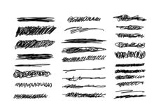 Pen Underline sketch set. Chaotic stroke design, scribble hand drawn line curve.  stock illustration