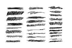 Pen Underline skissar upps?ttningen Den kaotiska slagl?ngddesignen, klottrar den utdragna linjen kurva f?r handen stock illustrationer