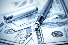 Pen on the us money Stock Images