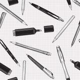 Pen vastgesteld naadloos patroon Potloden, pennen en teller Stock Afbeeldingen