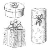 Pen vintage sketch - hand drawn gift boxes. Pen vintage sketch - vector hand drawn gift boxes Royalty Free Stock Image