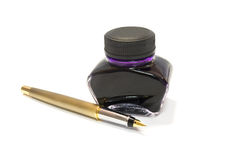 Pen and violet ink Stock Photography