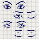 Pen vrouwelijke open en gesloten ogen stock illustratie