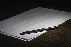 Pen on white list of paper, story. See my other works in portfolio royalty free stock images