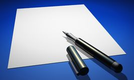 Pen on white paper Royalty Free Stock Image