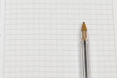 Pen on a white sheet of paper in the cage close up Stock Photography