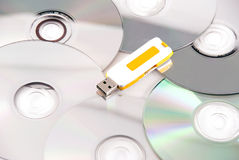 Pen wins. Pen drive wins cd technology Stock Photography