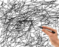 Pen With Scribbles Stock Photography