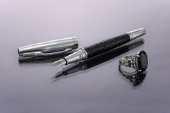 Free Pen With The Taken Off Tip And Silver Ring Stock Images - 8092354