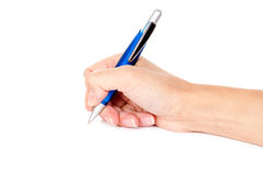 Pen in woman hand Royalty Free Stock Photography