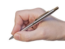 Pen in woman hand Stock Image