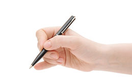 Pen in the woman's hand Royalty Free Stock Photography