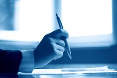 Pen  work hand Royalty Free Stock Photography