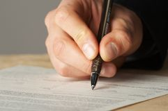 Pen work hand work Royalty Free Stock Photo