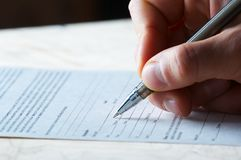 Pen work hand work Stock Photography