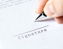 pen work hand work signature  Royalty Free Stock Photography