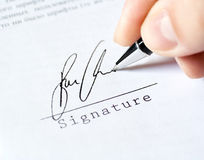 Pen work hand work signature Stock Photos