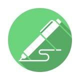 Pen, write flat icon. Round colorful button Stock Photo