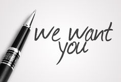 Pen writes we want you Royalty Free Stock Image