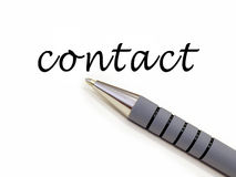 Pen writing contact. Pen with word contact