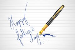 Pen writing Happy Father's Day message Royalty Free Stock Photos