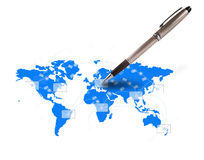 Pen writing letter on world map Royalty Free Stock Image