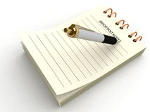 Pen writing on notepad Royalty Free Stock Photos