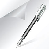 Pen writing on white paper Royalty Free Stock Photography