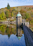 Pen Y Garreg reservoir dam autumn reflections. Royalty Free Stock Images