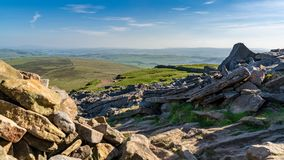 Pen-y-ghent, North Yorkshire, England, UK. View over the Yorkshire Dales landscape from the Pen-Y-Ghent between Halton Gill and Horton in Ribblesdale, North stock photography