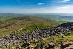 Pen-y-ghent, North Yorkshire, England, UK. View over the Yorkshire Dales landscape from the Pennine Way at the Pen-Y-Ghent between Halton Gill and Horton in stock image