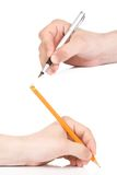 Pen and yellow pencil Royalty Free Stock Photo