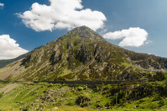 Pen yr Ole Wen mountain from Idwal Cottage. Royalty Free Stock Photography