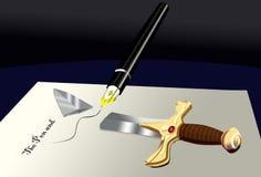A pena é mais poderosa do que a espada Imagens de Stock