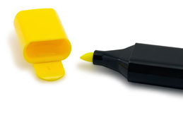 Pena amarela do Highlighter Imagens de Stock Royalty Free
