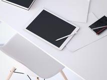 Pena branca grande da tabuleta para esboços rendição 3d Imagens de Stock Royalty Free