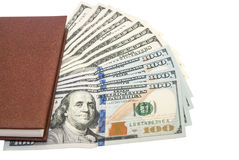 Pena, caderno, notas de dólar Fotos de Stock