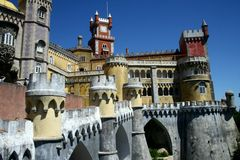 Pena castle in Sintra. In Portugal Royalty Free Stock Photos
