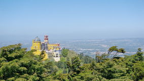Pena castle in Sintra. View to the Pena castle fro the hill stock photo