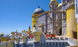 Pena castle in Sintra. View to the Pena castle from inside Stock Photos
