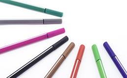 Pena colorida isolada no branco Fotos de Stock