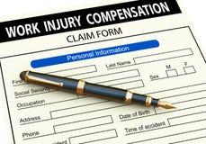 pena 3d no formulário de reclamação da compensação de ferimento de trabalho ilustração do vetor