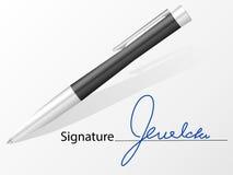 Pena da assinatura e de esferográfica Foto de Stock